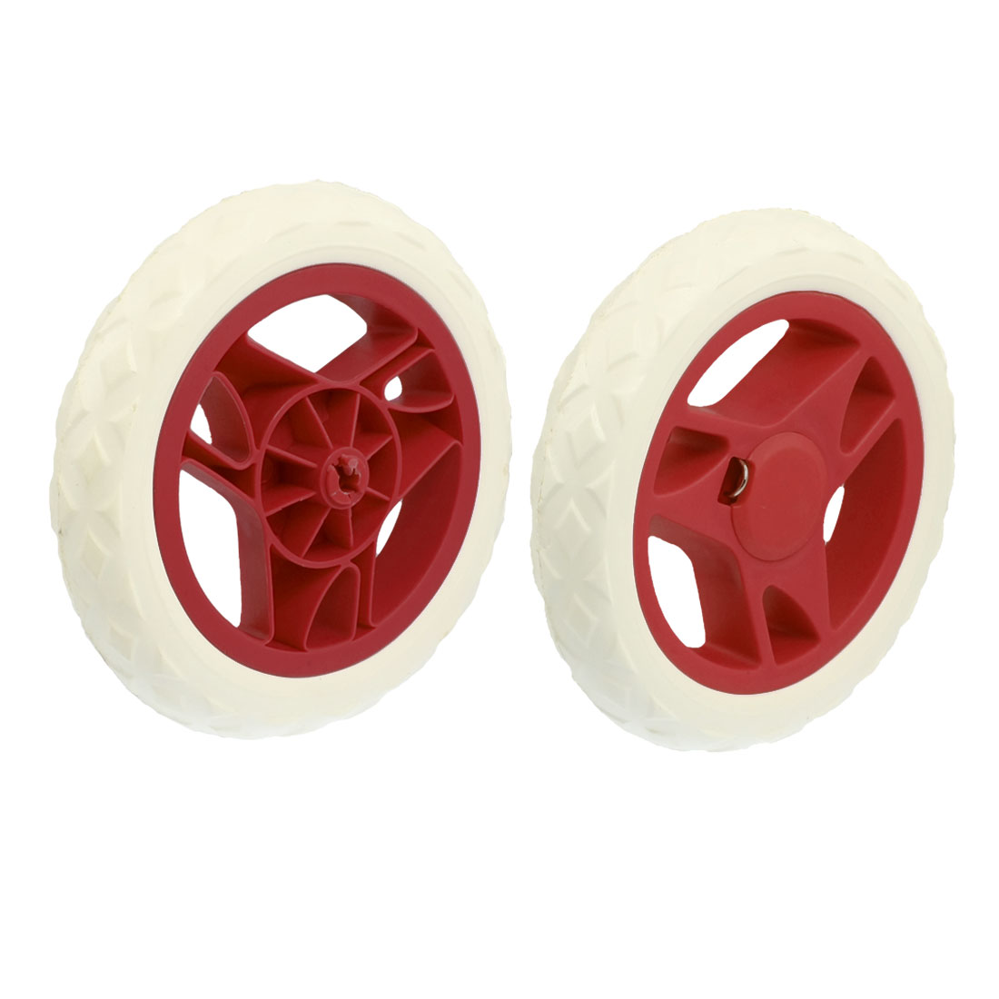 2 Pcs White Hot Wheel Design Shopping Cart Caster Wheels