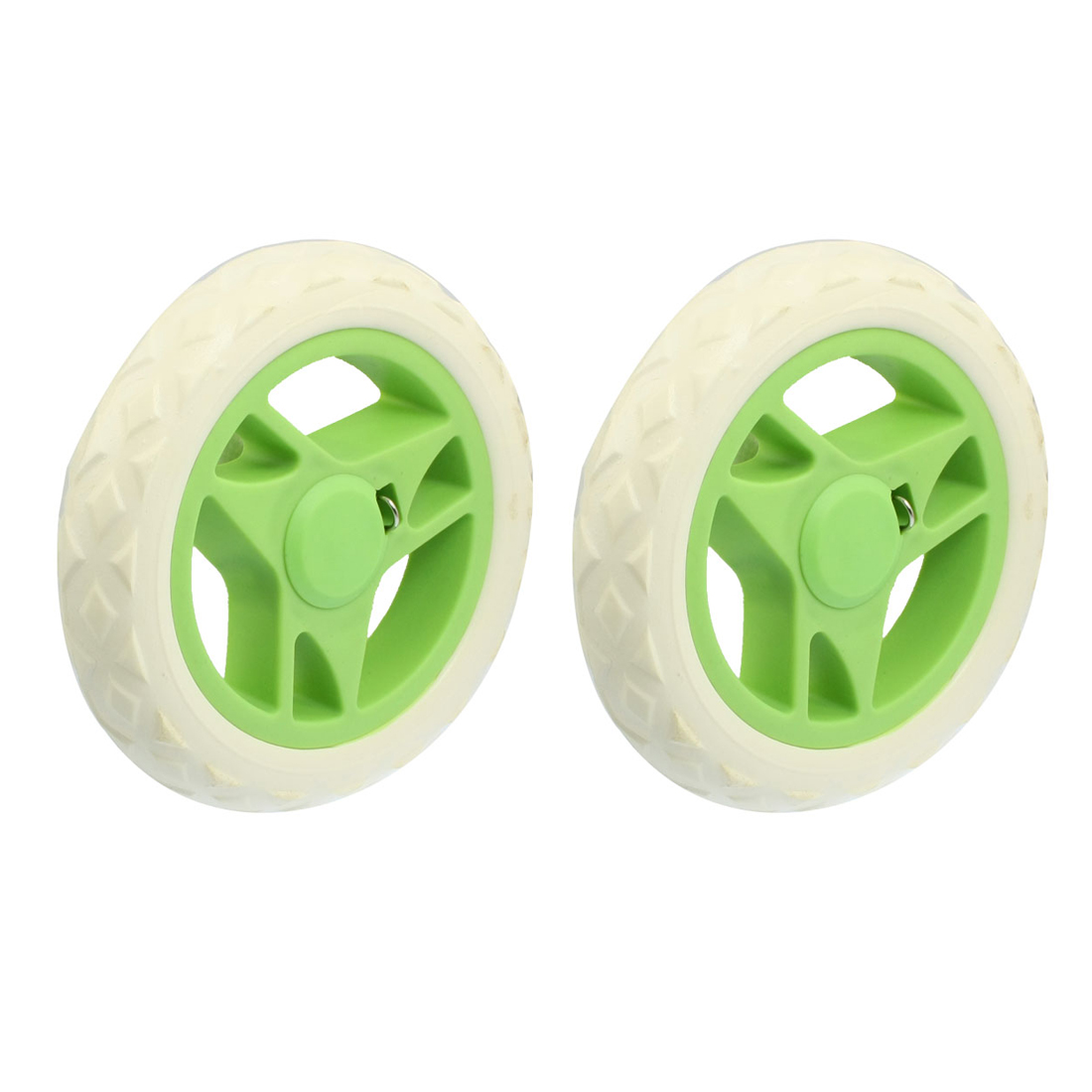 2 Pcs Replaceable Shopping Trolley Travelling Cart Wheels White Green