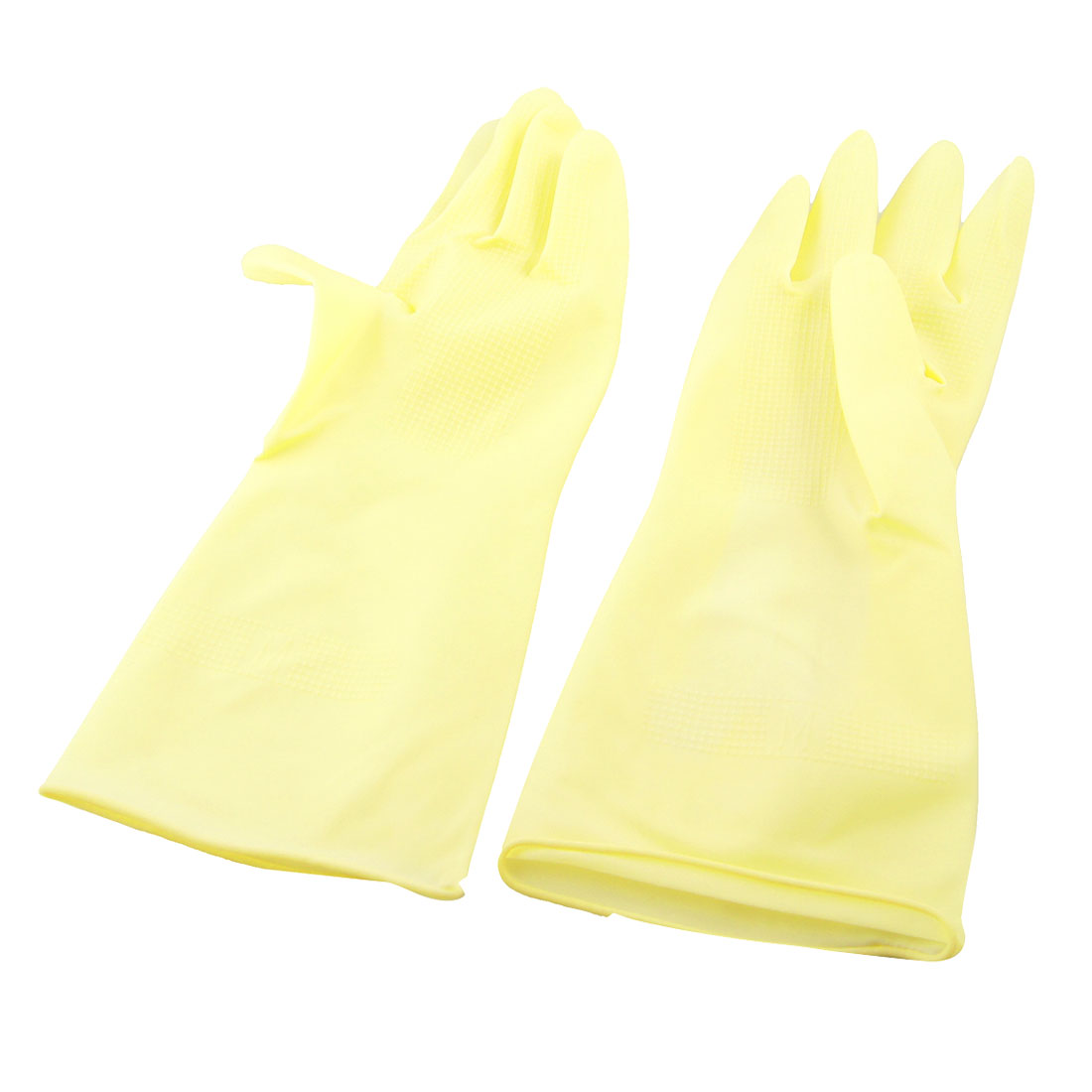 "Pair Industry Household Dish Clean Latex Work Gloves Yellow 11"" Length"