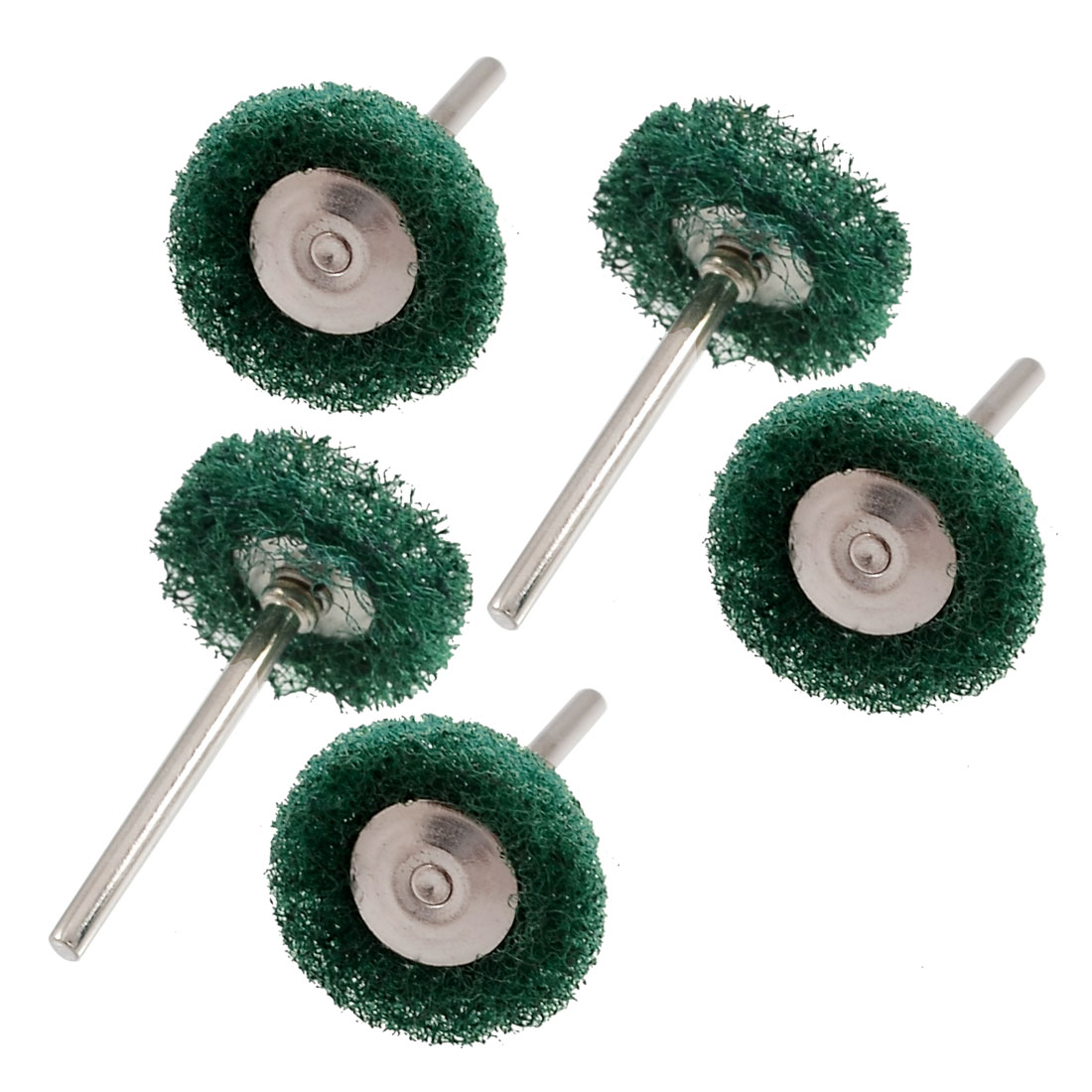 "4 Pcs T Shape Green Nylon Metal 0.12"" Dia Shank Polishing Brush Wheel"