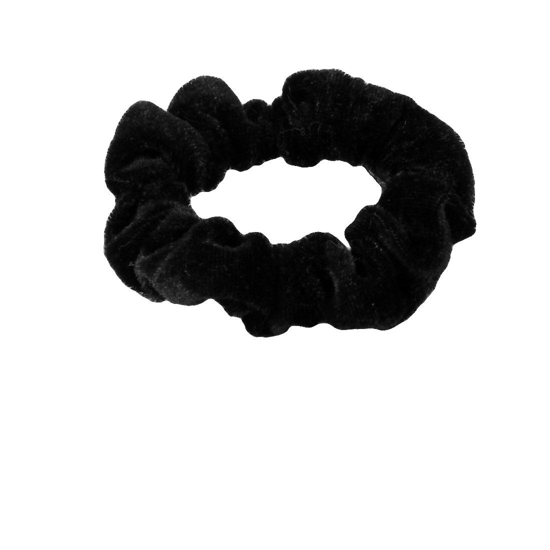 Woman Girl Black Velvet Elastic Hair Tie Ponytail Holder Band 4 Pcs