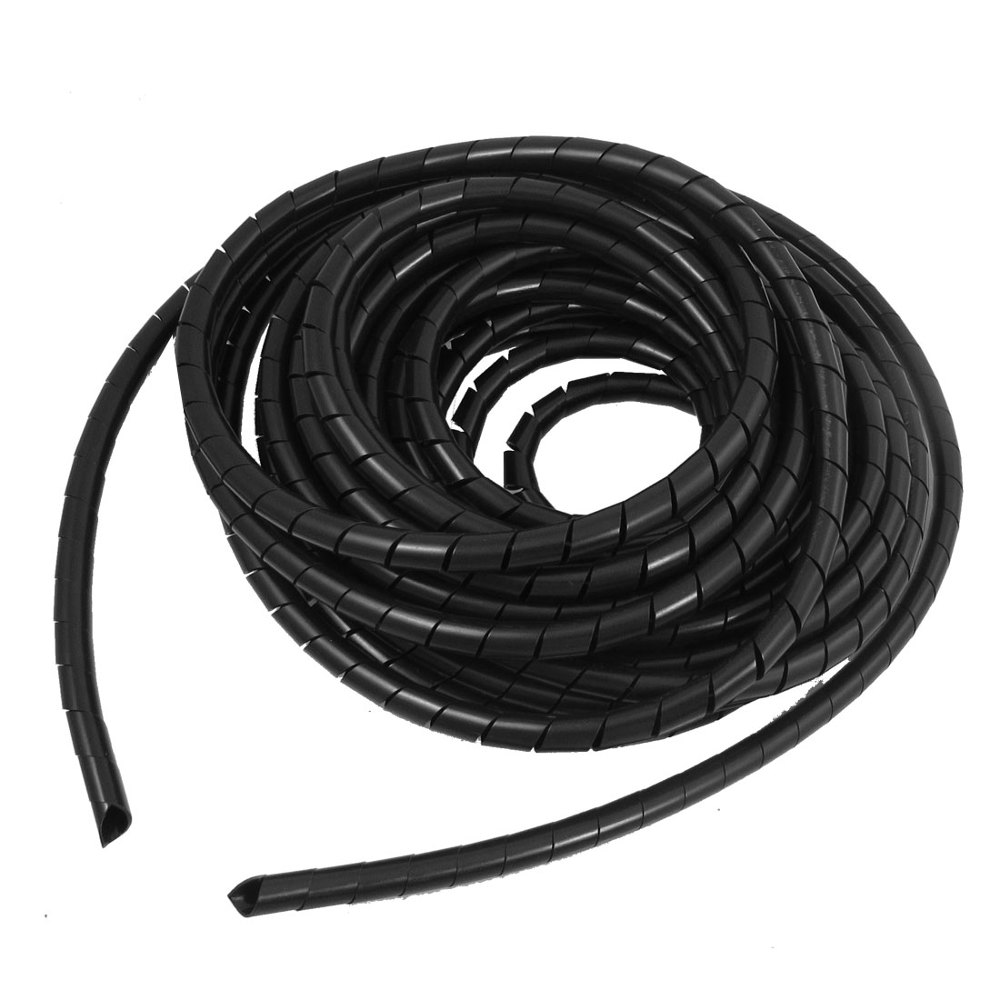 8mm Outside Dia 4.8M PE Polyethylene Spiral Cable Wire Wrap Tube Black
