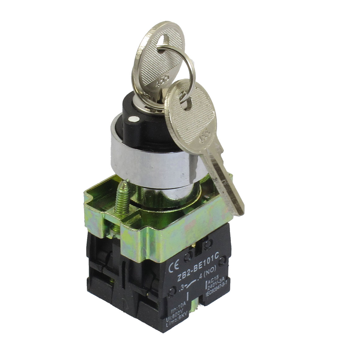 22mm Locking 2 NO Three 3-Position Keylock Selector Select Switch ZB2-BE101C