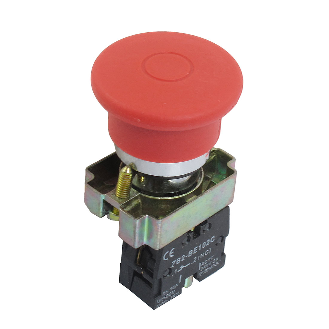 22mm NC Red Mushroom Emergency Stop Push Button Switch 600V 10A ZB2-BE102C