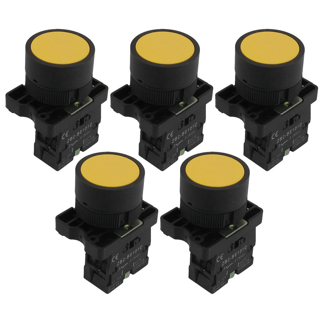 5pcs 2mm 1 NO N/O Yellow Sign Momentary Push Button Switch 600V 10A ZB2-EA51