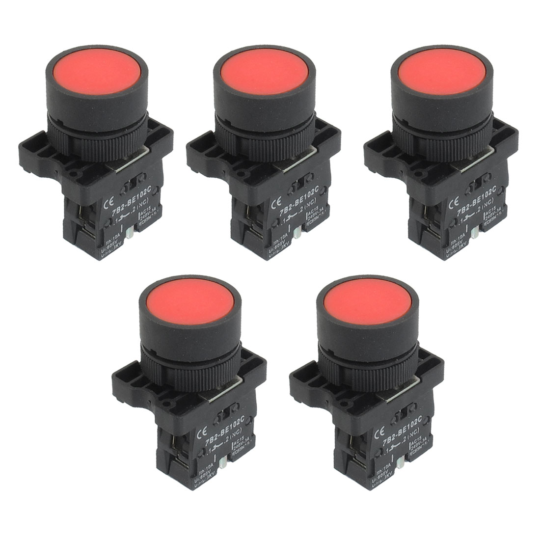 5 x 22mm 1 NC N/C Red Sign Momentary Push Button Switch 600V 10A ZB2-EA42