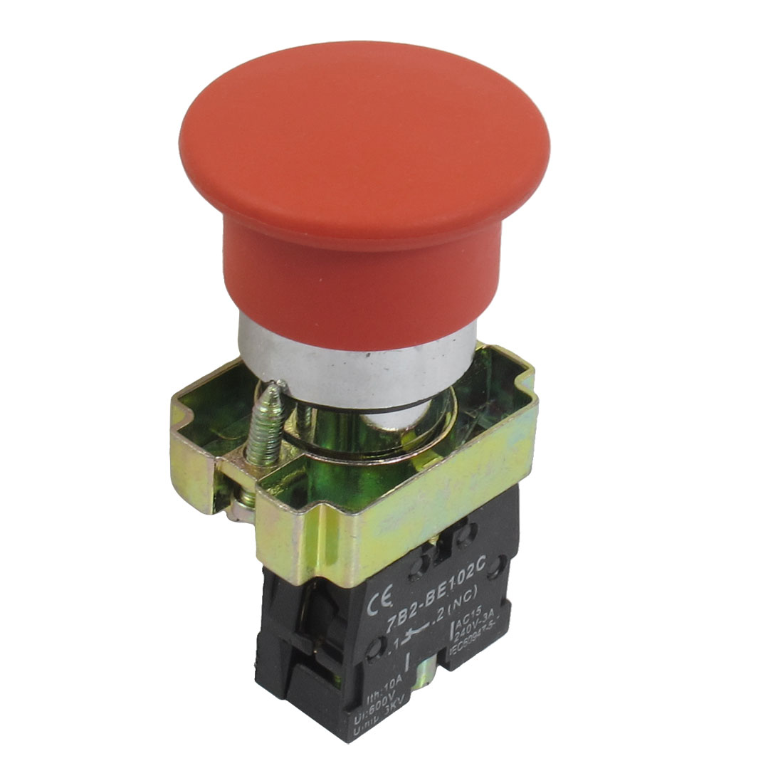 22mm NC Red Mushroom Momentary Push Button Switch 600V 10A ZB2-BC42