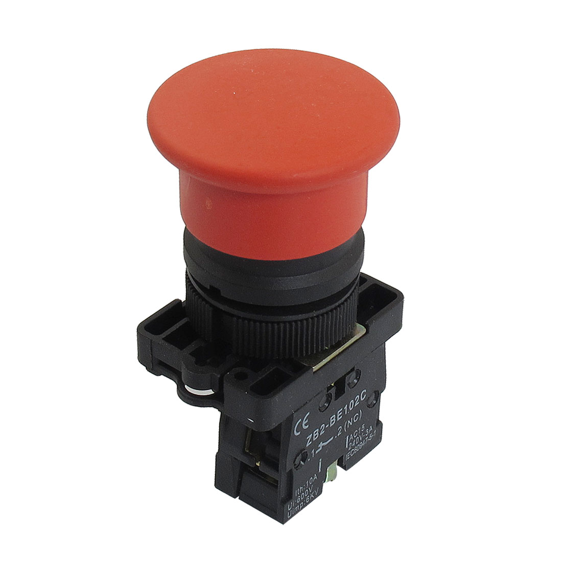 22mm NC Red Mushroom Momentary Push Button Switch 600V 10A ZB2-EC42