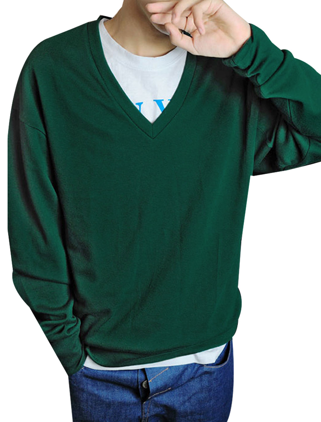 Mens Dark Green V Neck Long Sleeve Solid Color Stretchy Simple Top Shirt XS