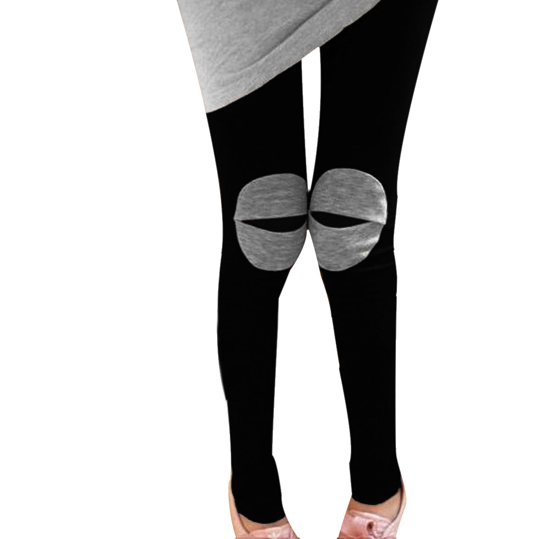 Motherhood Black Elastic Waist Patch Detail Knees Form-fitting Leggings M