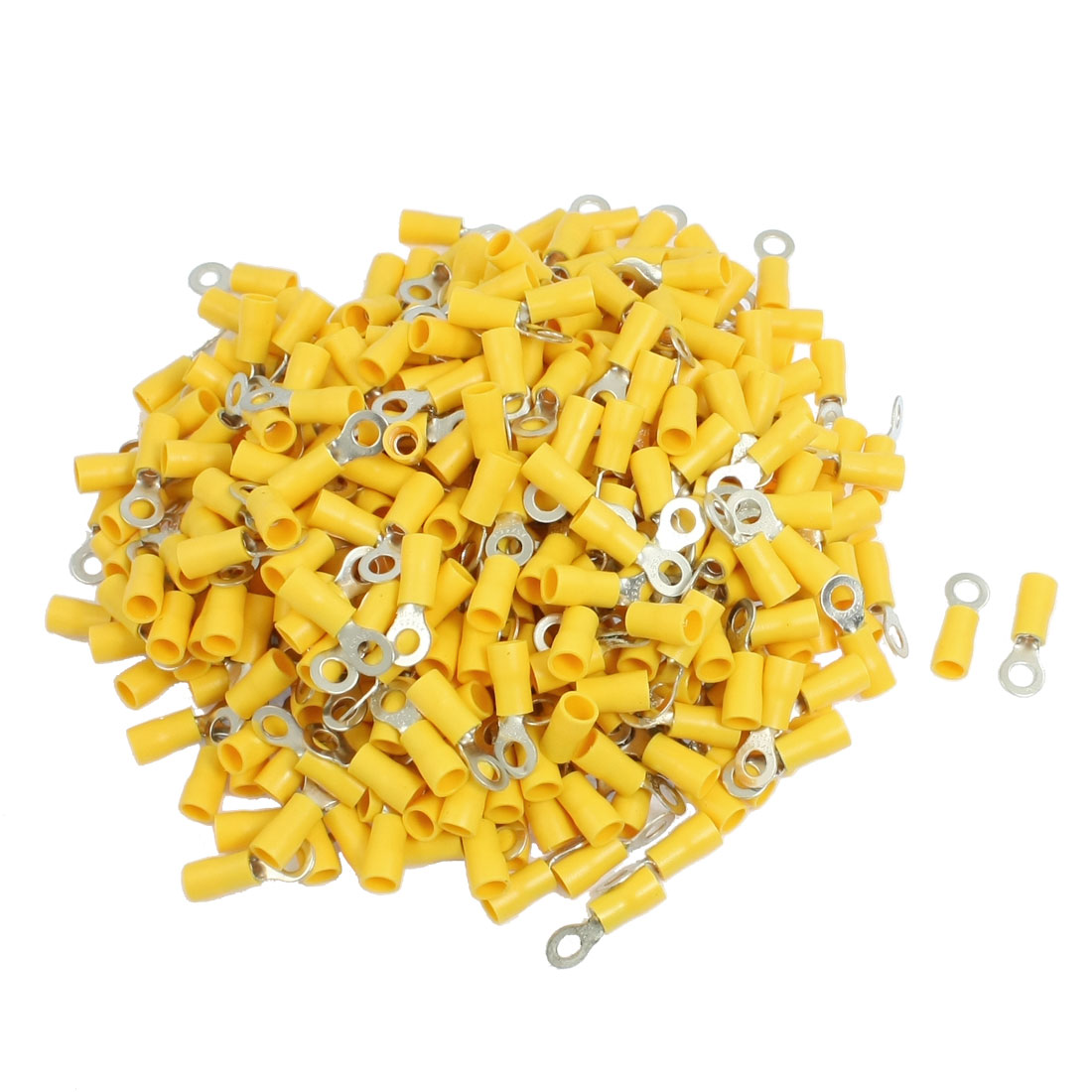500 Pcs RV5.5-5 AWG 12-10 Yellow Sleeve Pre Insulated Ring Terminals Connector