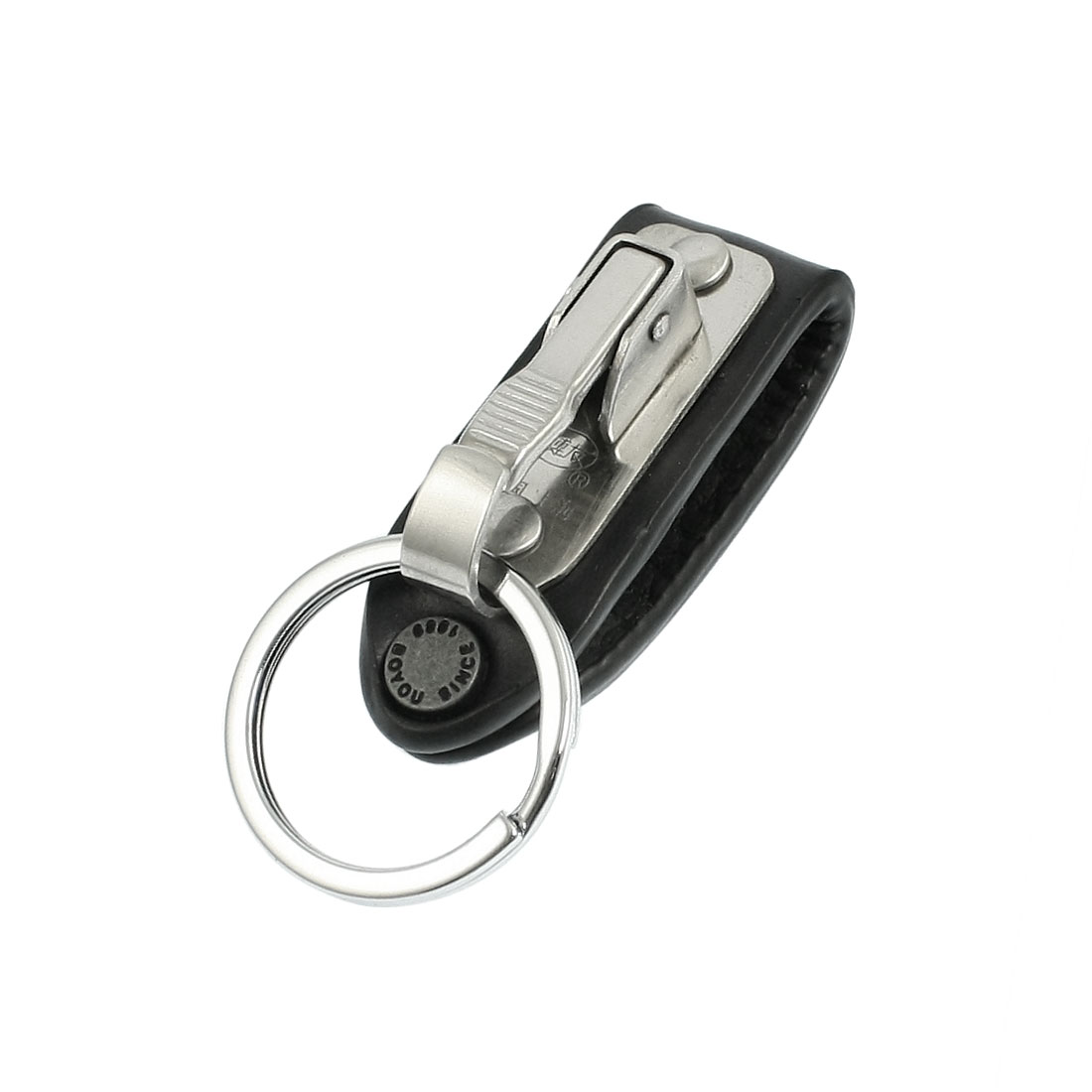 Stainless Steel Keyring Design Faux Leather Belt Loop Key Chain