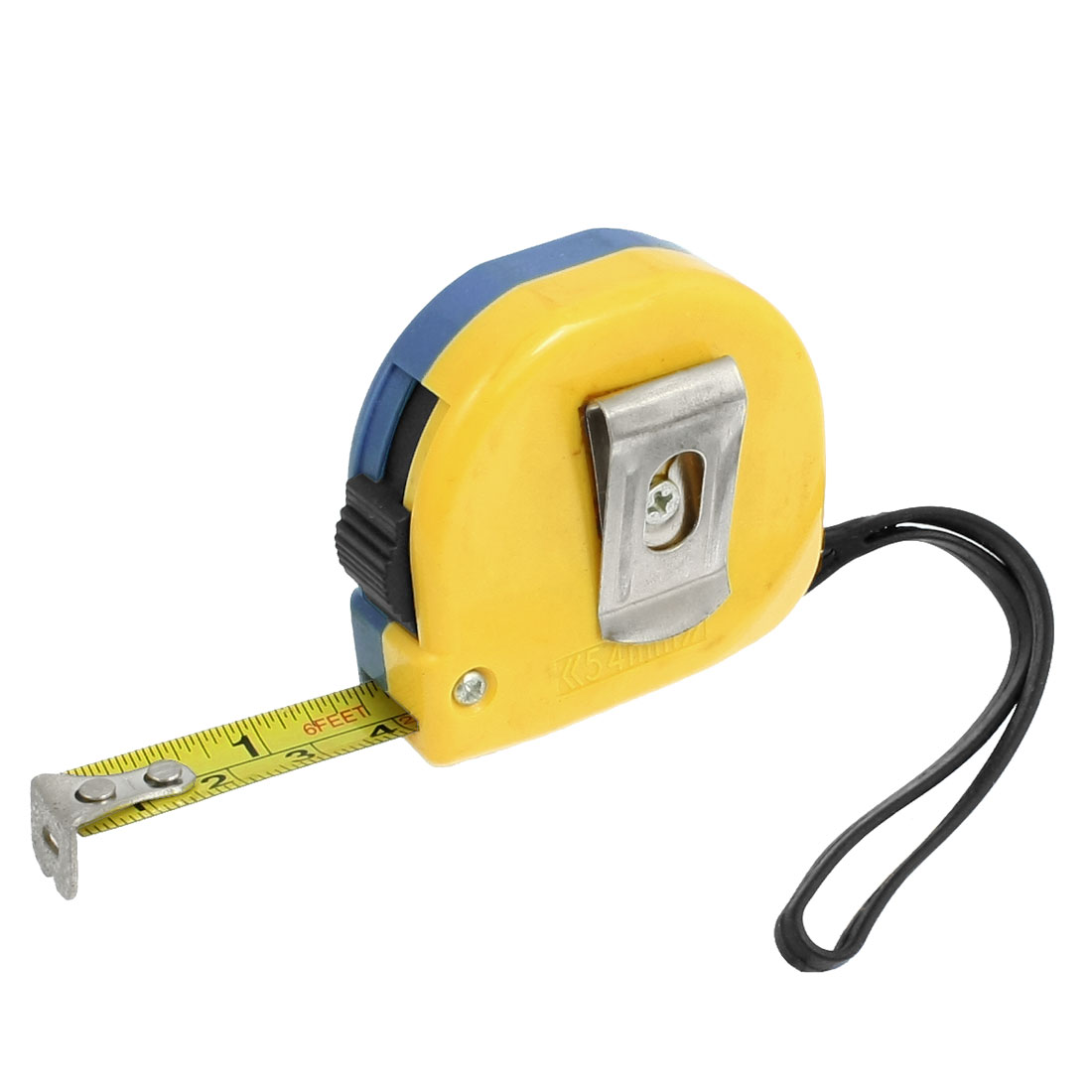 2M Yellow Blue Case Back Clip Ruler Tape Measure w Black Strap