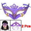 2 Pcs Fancy Party Yellow Silver Tone Powder Detail Eye Mask Purple