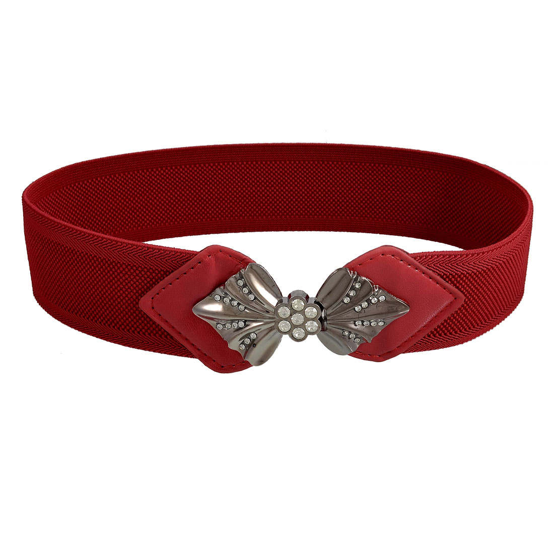Women Faux Rhinestone Bowtie Buckle Dark Red Elastic Waist Cinch Belt