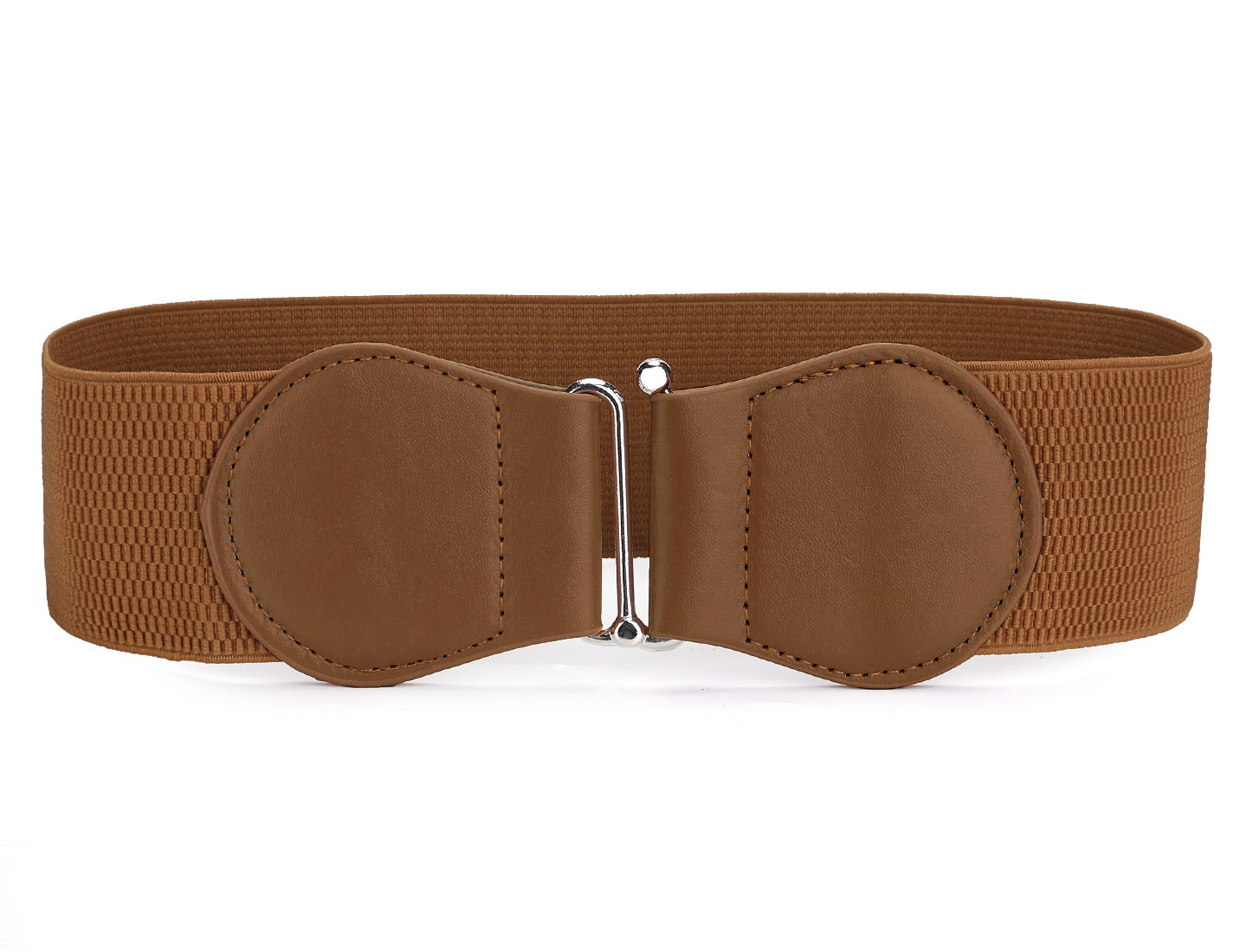 Ladies Interlocking Buckle 6cm Wide Brown Elastic Waist Belt Waistband