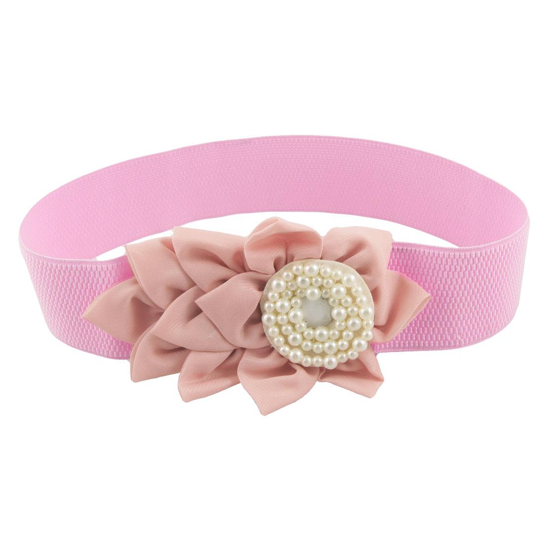 Lady Press Stud Button Plastic Pearl Flowers Elastic Waist Belt Pink