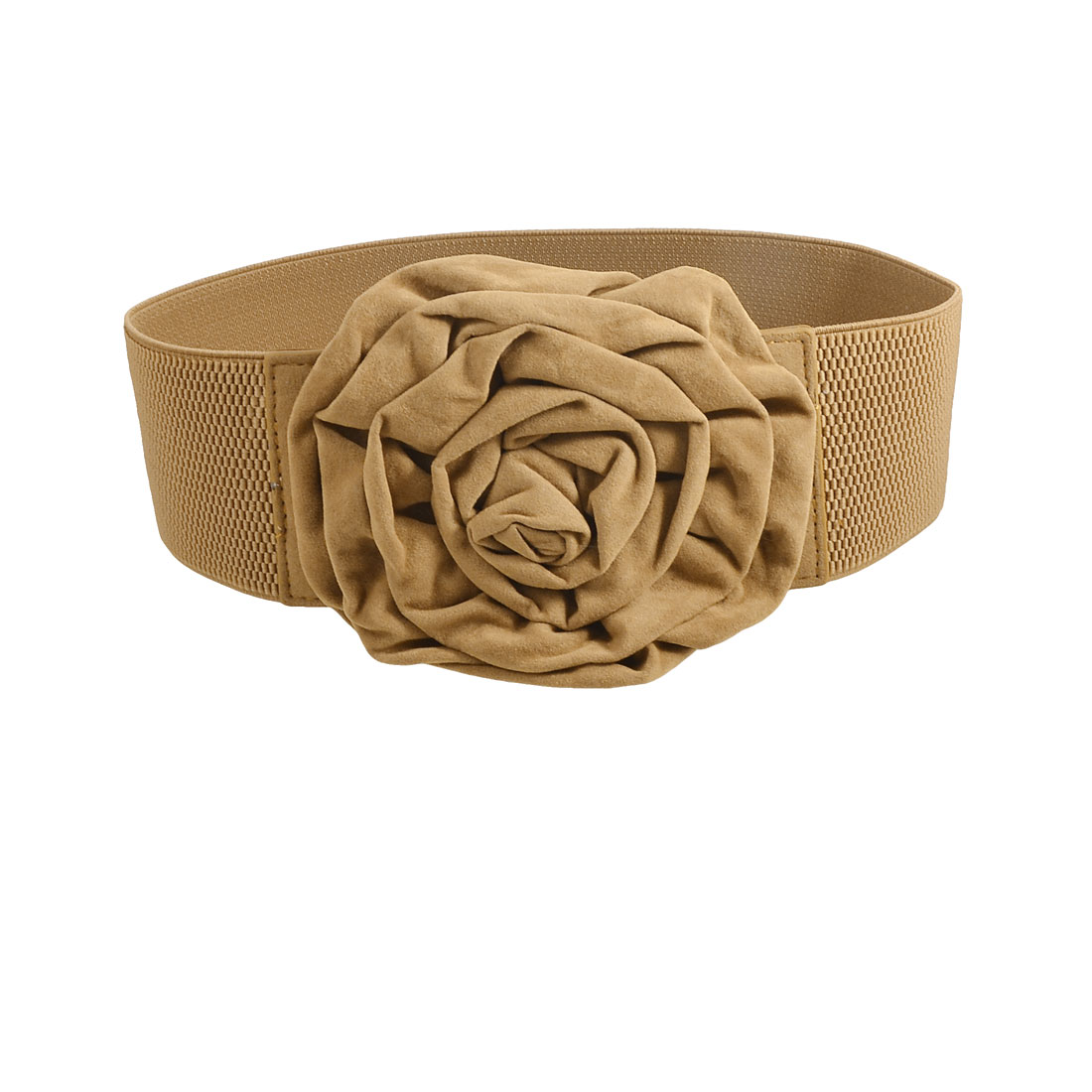 Women Flannel Flower Textured Stretch Wide Waist Cinch Belt Brown