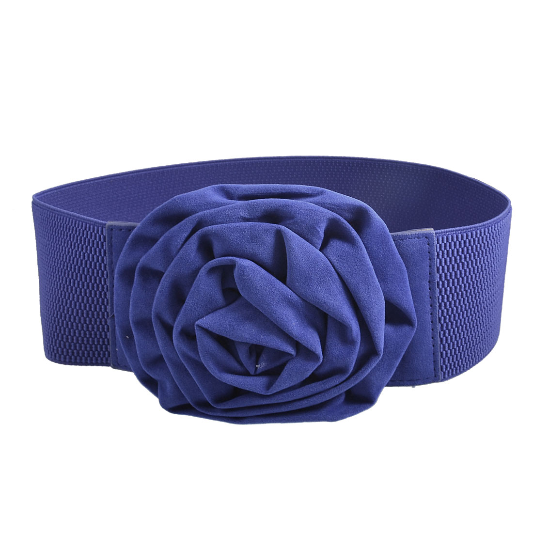 Women Adjustable Interlocking Buckle Royal Blue Wide Stretch Waist Belt