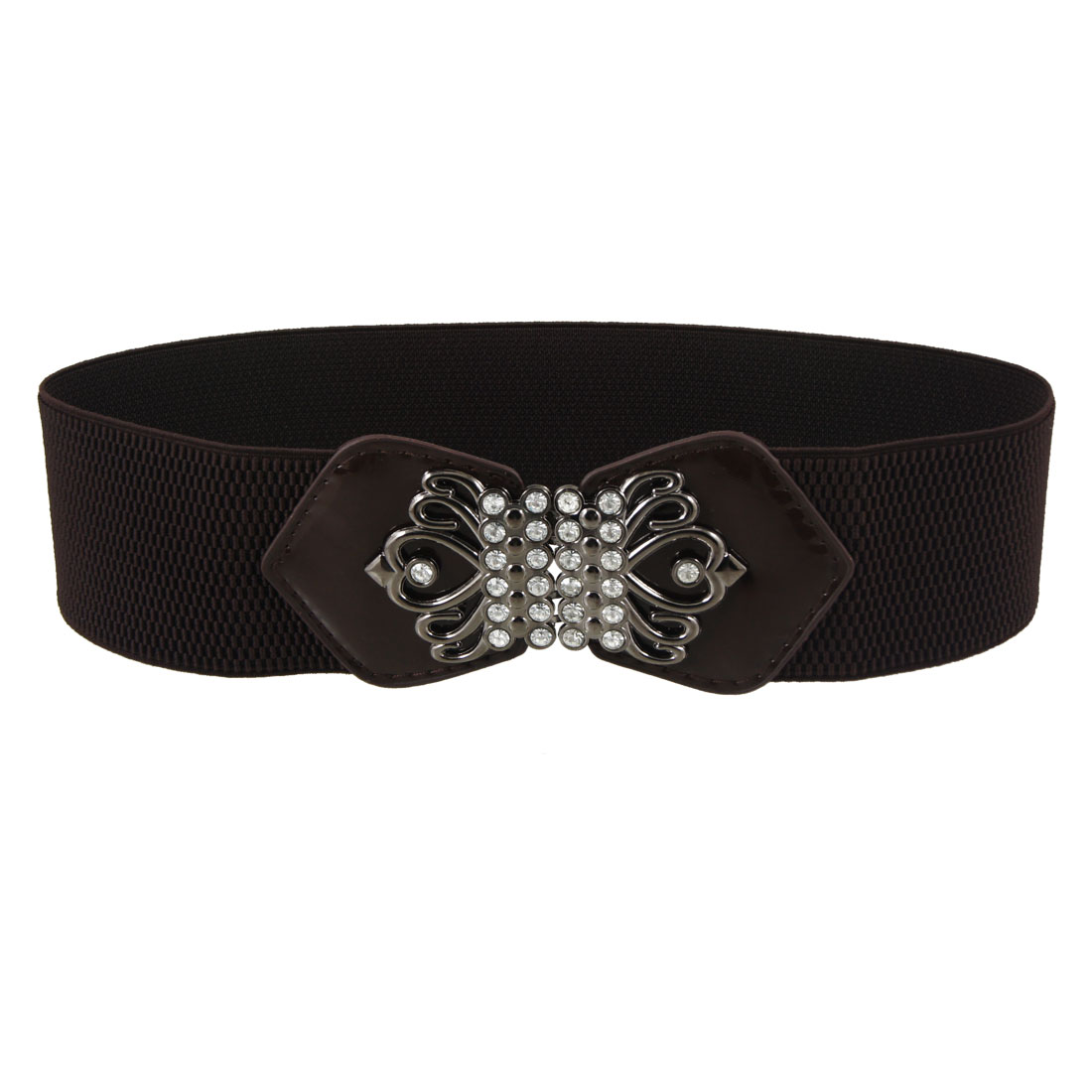 Women Faux Rhinestone Interlocking Buckle Stretch Waist Belt Coffee Color