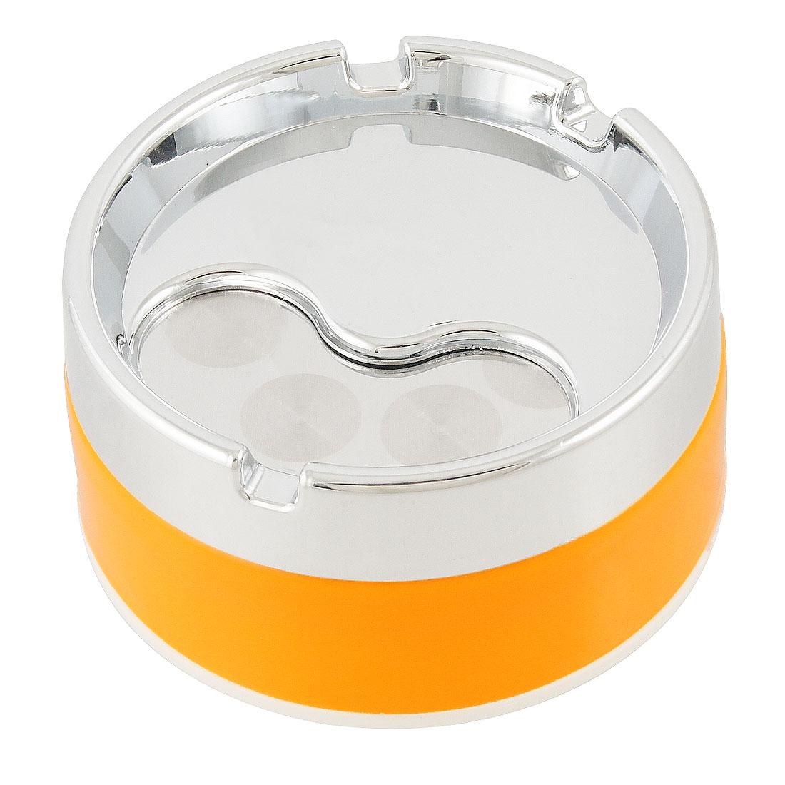 "Rotatable Cover 3.3"" Dia Round Cigarette Smoking Ashtray Holder Orange"