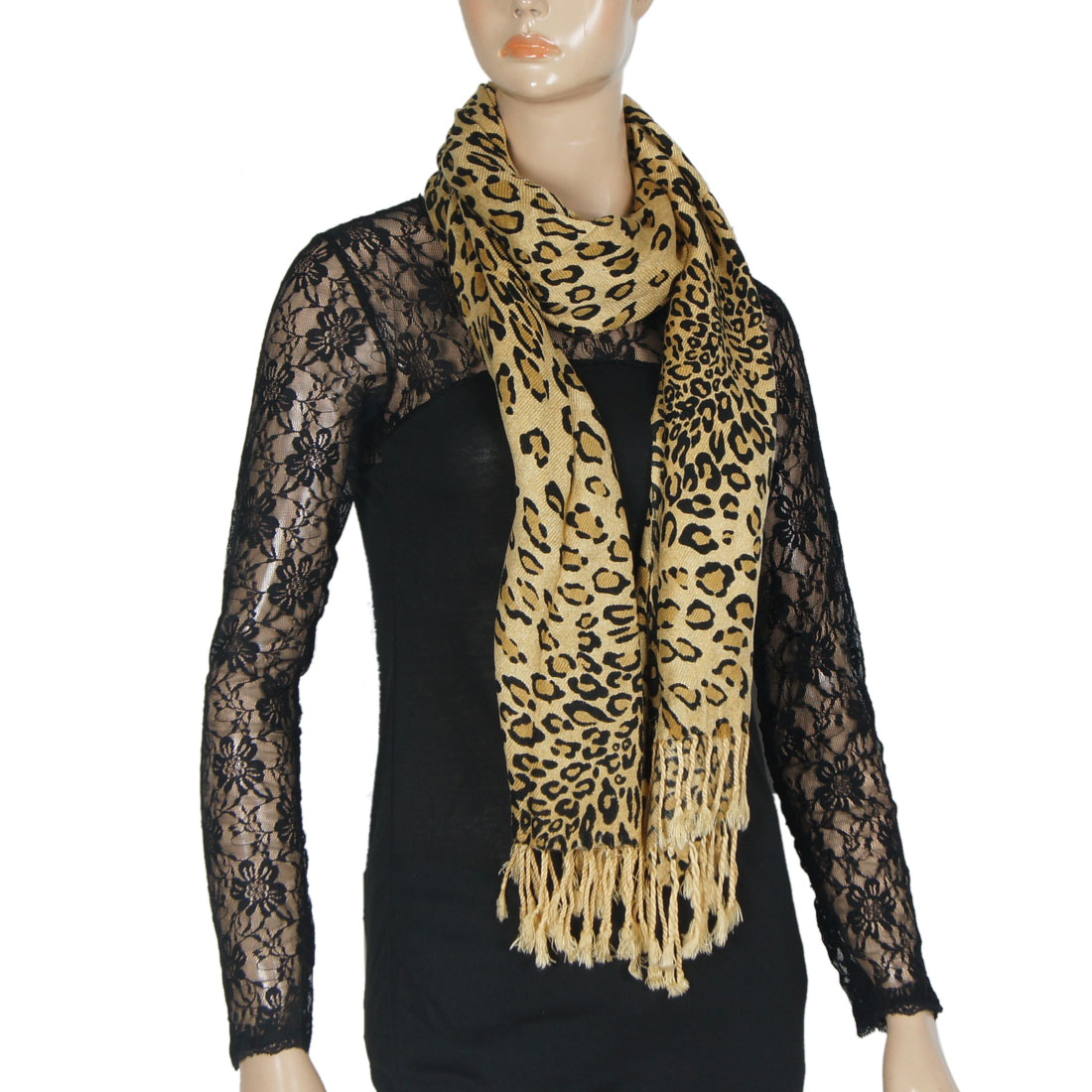 Ladies Black Light Brown Leopard Pattern Long Scarf Shawl