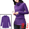 Ladies Long Sleeve Turtle Neck Stretch Purple Cable Autumn Blouse XS
