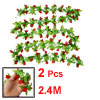 7.87Ft Long Artificial Red Mangnolia Green Leaf Hanging Vine 2 Pcs