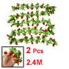 7.87Ft Long Artificial Red Mangnolia Green Leaf Hanging Vine 2 Pcs