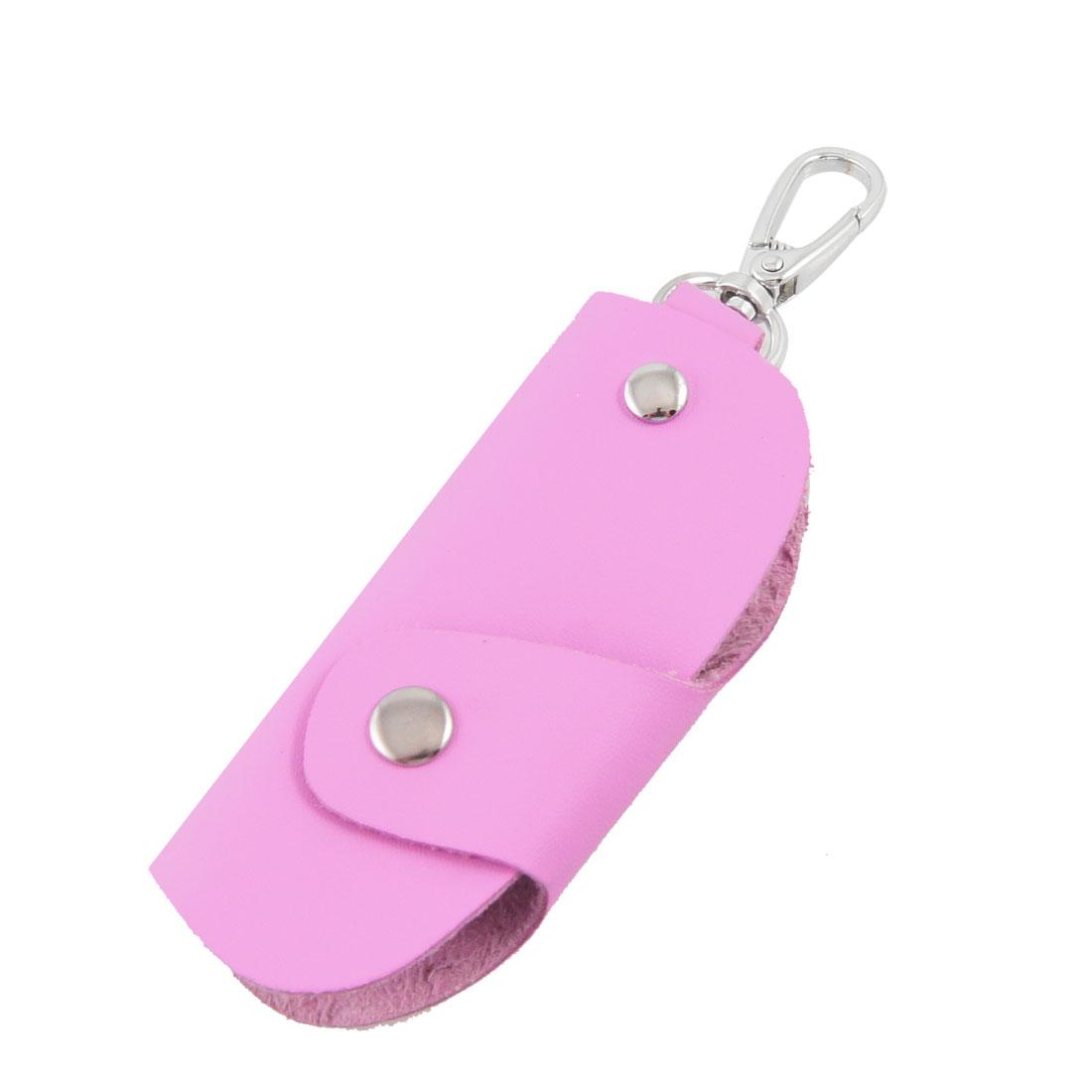 """3.9"""" Length Folded Fuchsia Faux Leather Single Keyring Key Holder Bag"""