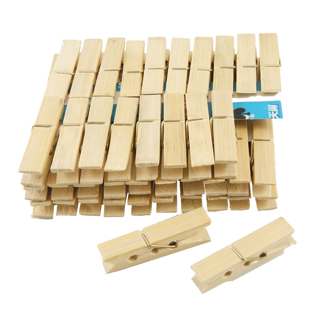60 Pcs Laundry Natural Bamboo Clothes Pins Pegs Hanging Clips