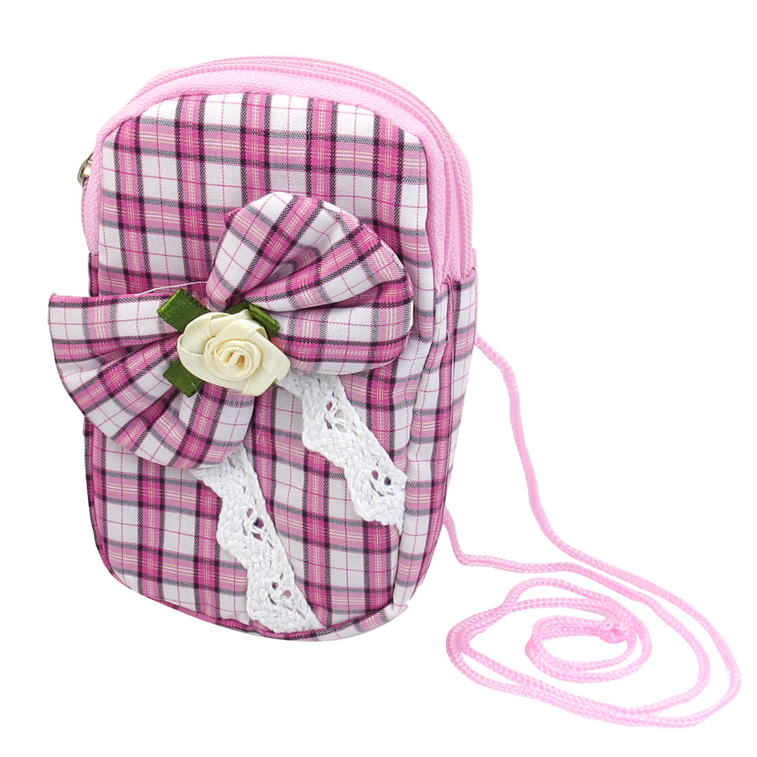 Grid Pattern Bowknot Front Pink Wrist Wallet Phone Holder Purse w Neck Strap