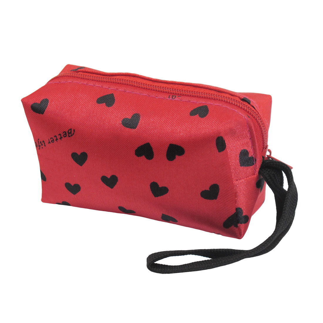 Red Black Heart Letter Print Fabric Wallet Money Coin Purse