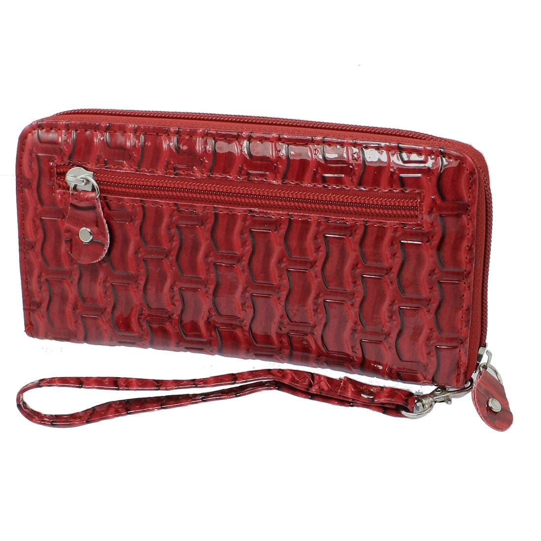 Ladies Red Rectangle Wristlet 3 Compartments Faux Leather Zip up Money Purse