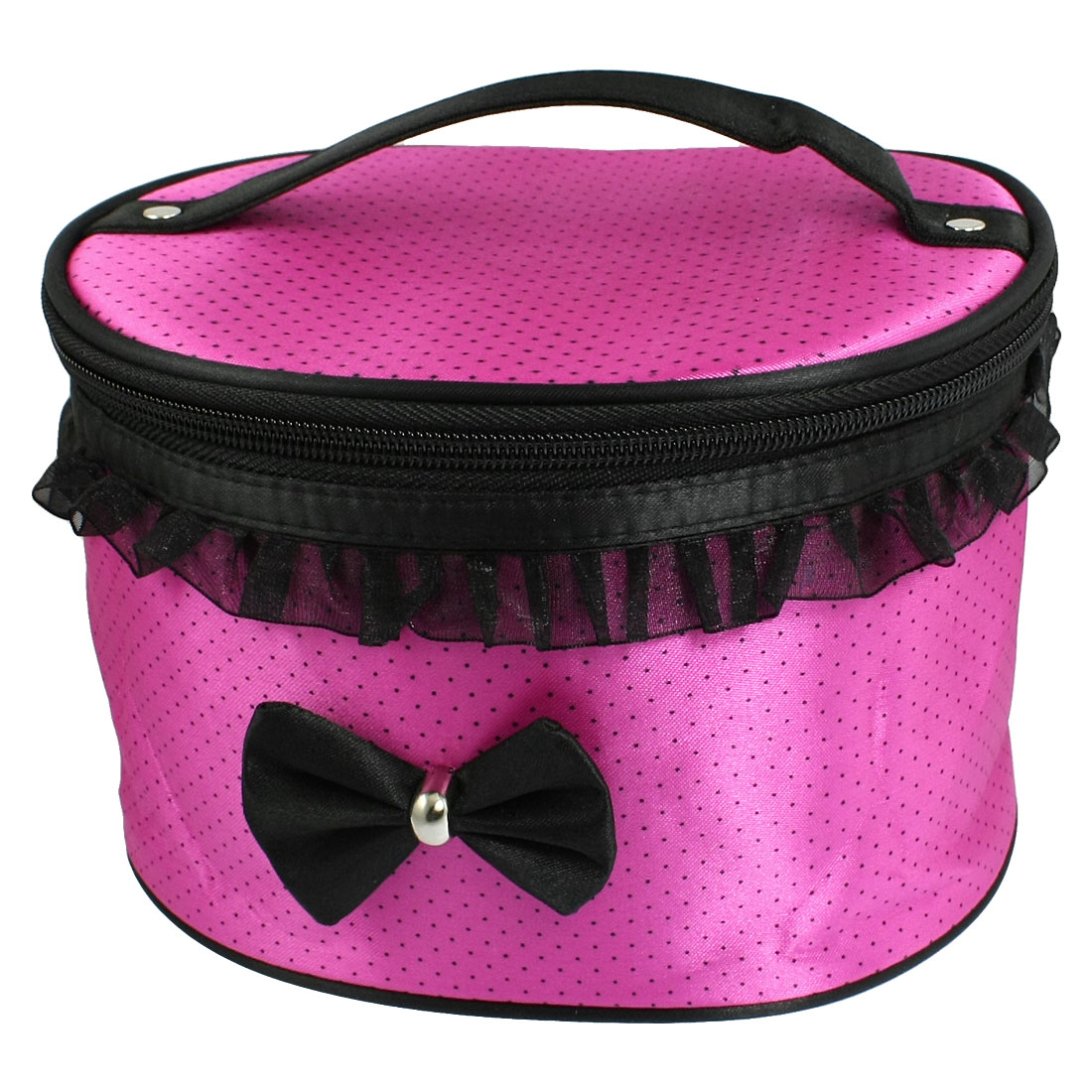 Women Black Dots Magenta Two Way Zip Closure Cosmetic Case Bag Organizer