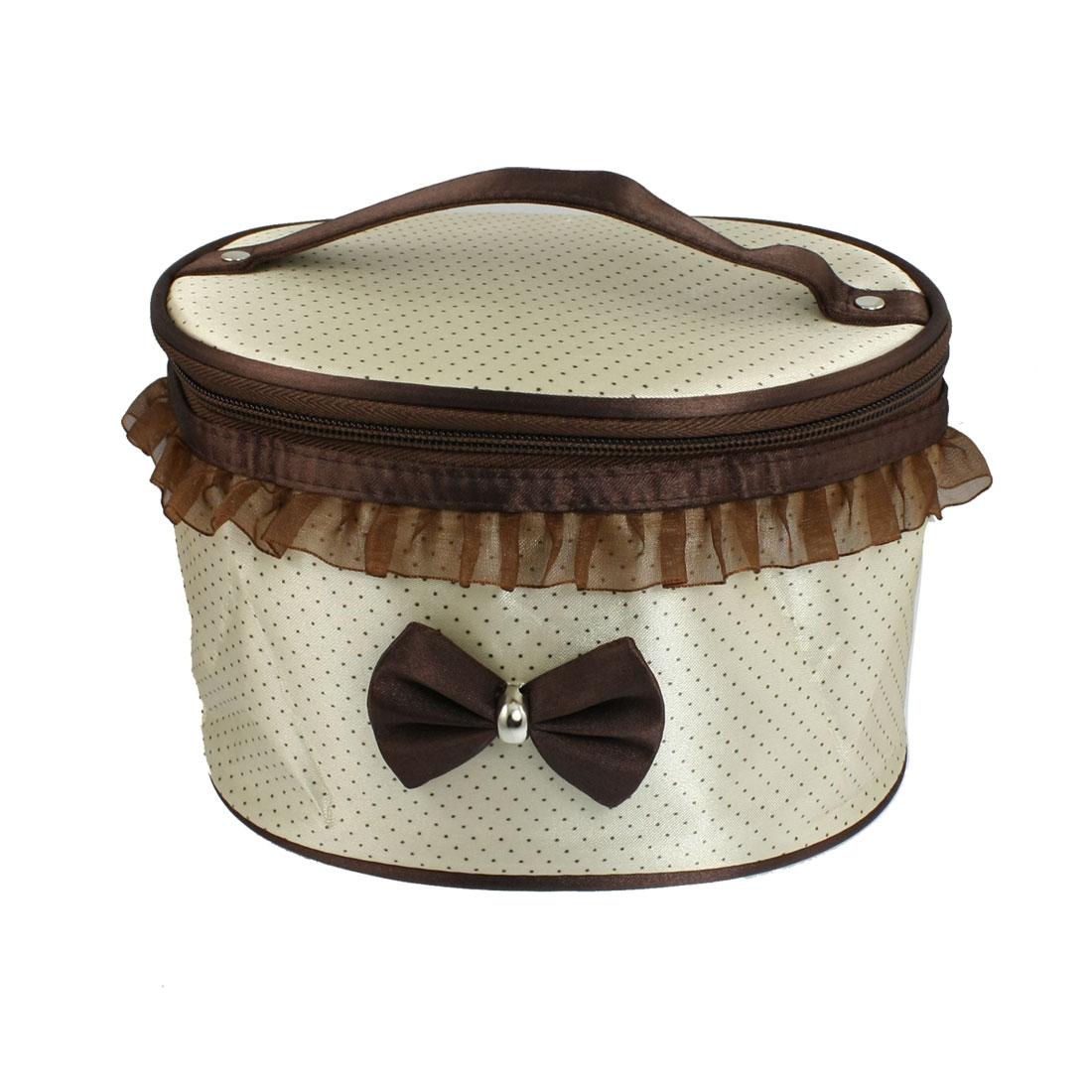 Lady Beige Brown Dots Print Mirror Dual Zipper Cosmetic Makeup Handbag