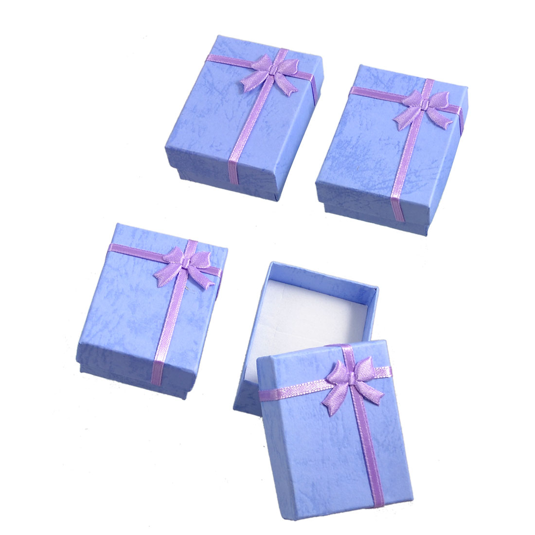 4 Boxes Bowtie Decor Rectangular Lavender Gift Cases Present Boxes Earrings Holder