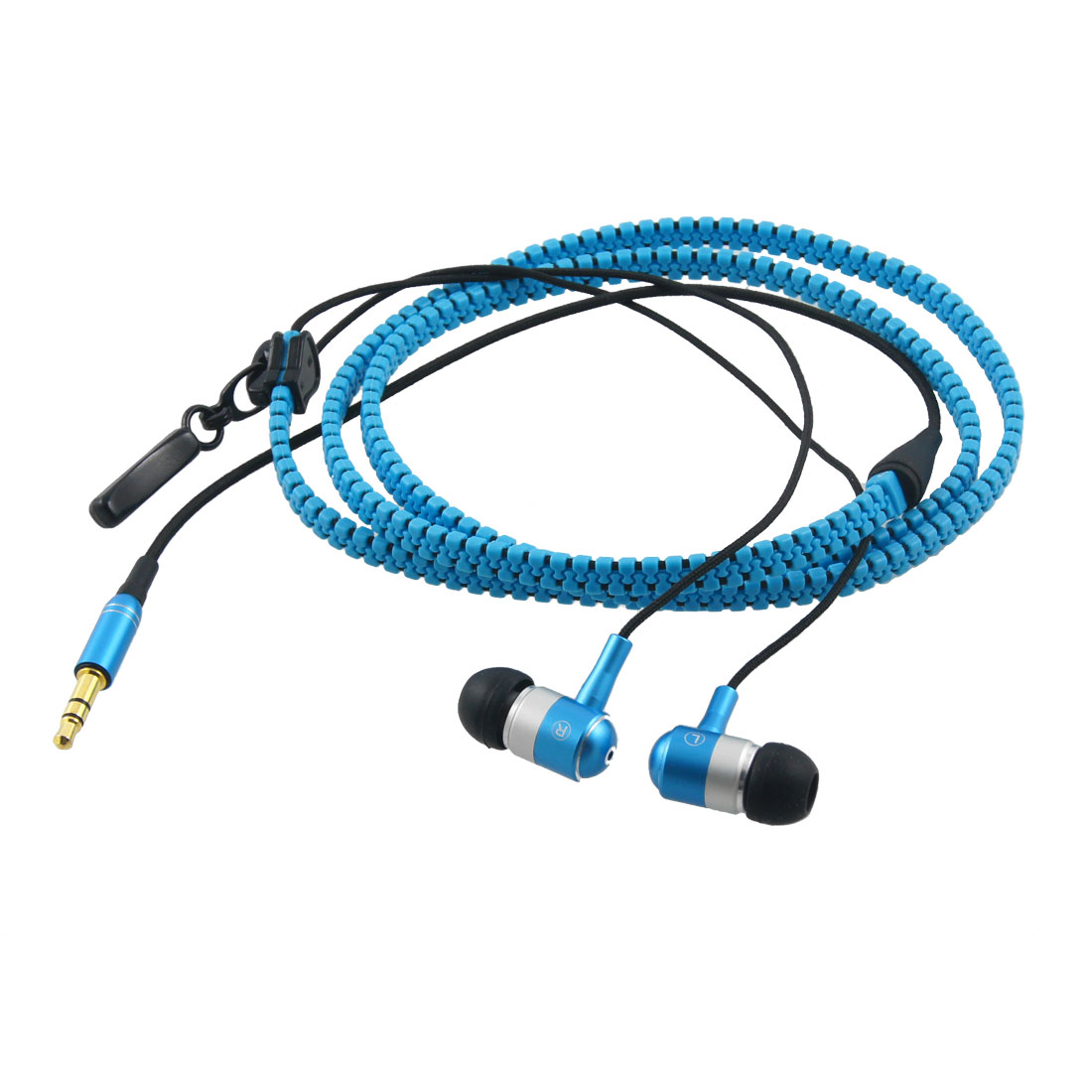 3.5mm Jack Silicone Earbuds Blue Black In Ear Earphone for iPhone 4GS iPad 3