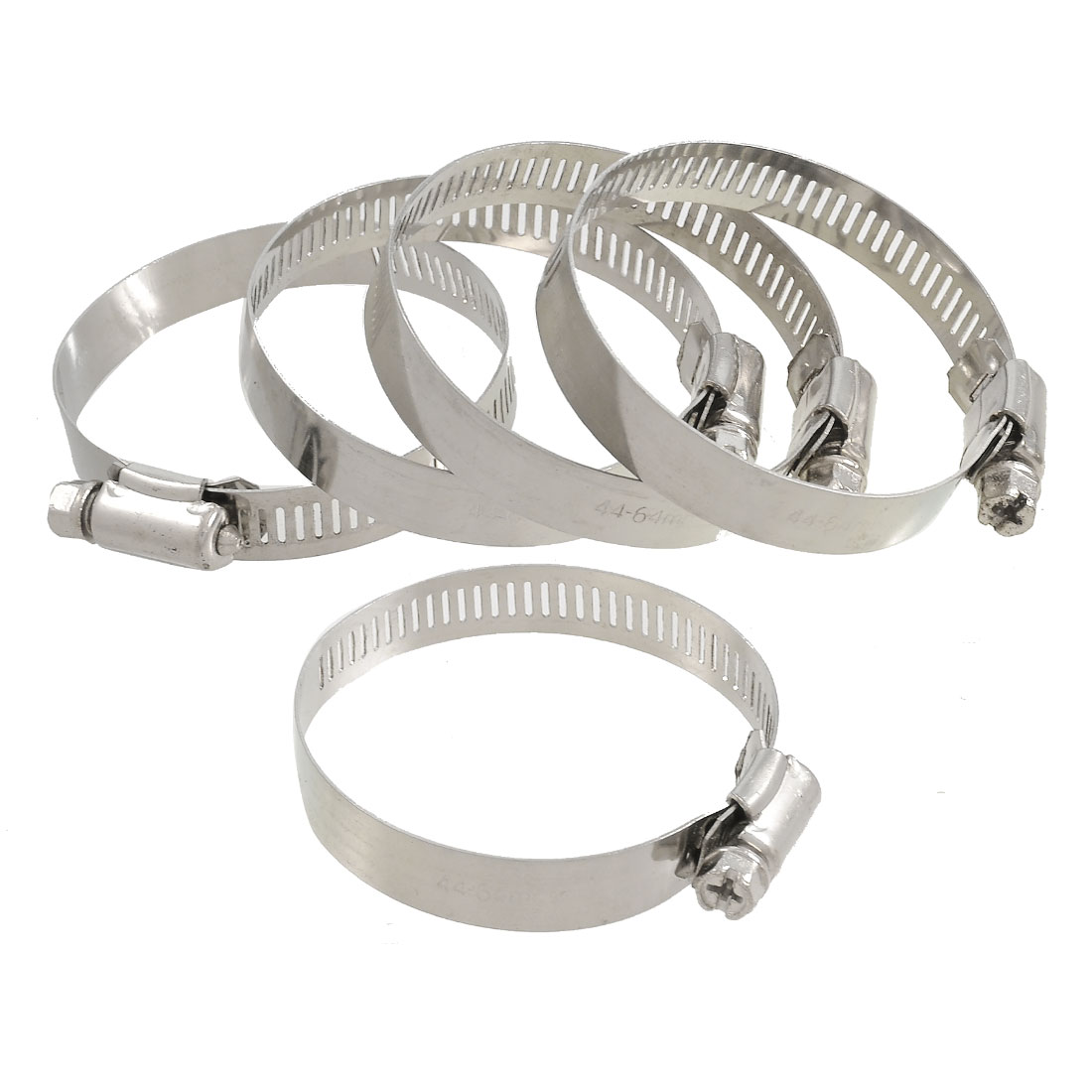 5 Pcs Stainless Steel 44-64mm Hoop Ring Adjustable Hose Clamps