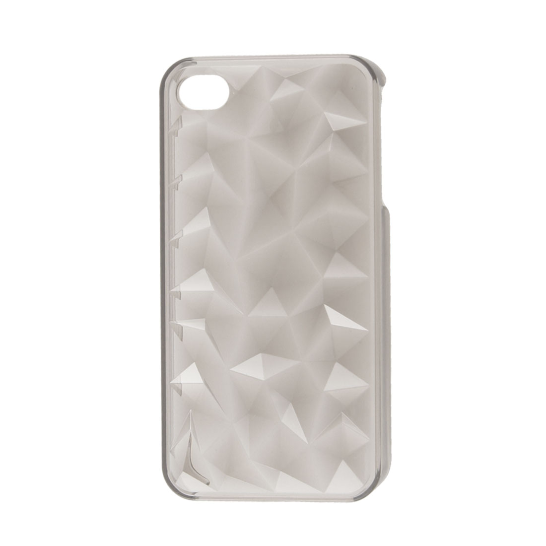 Protective Clear Grey Water Cube Style Plastic Back Guard for iPhone 4 4S 4GS