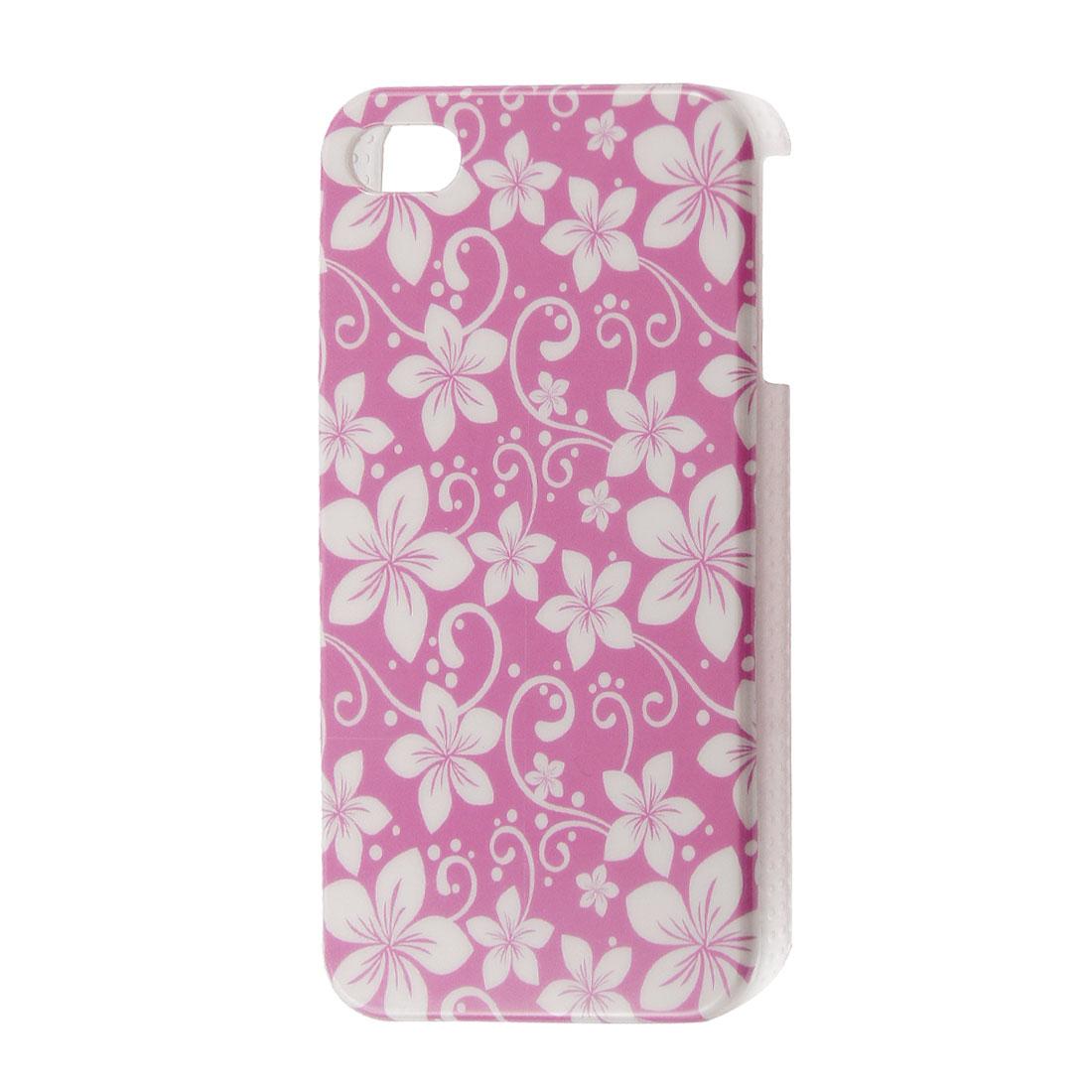 White Flower Pattern IMD Plastic Fuchsia Back Case for iPhone 4 4S 4GS