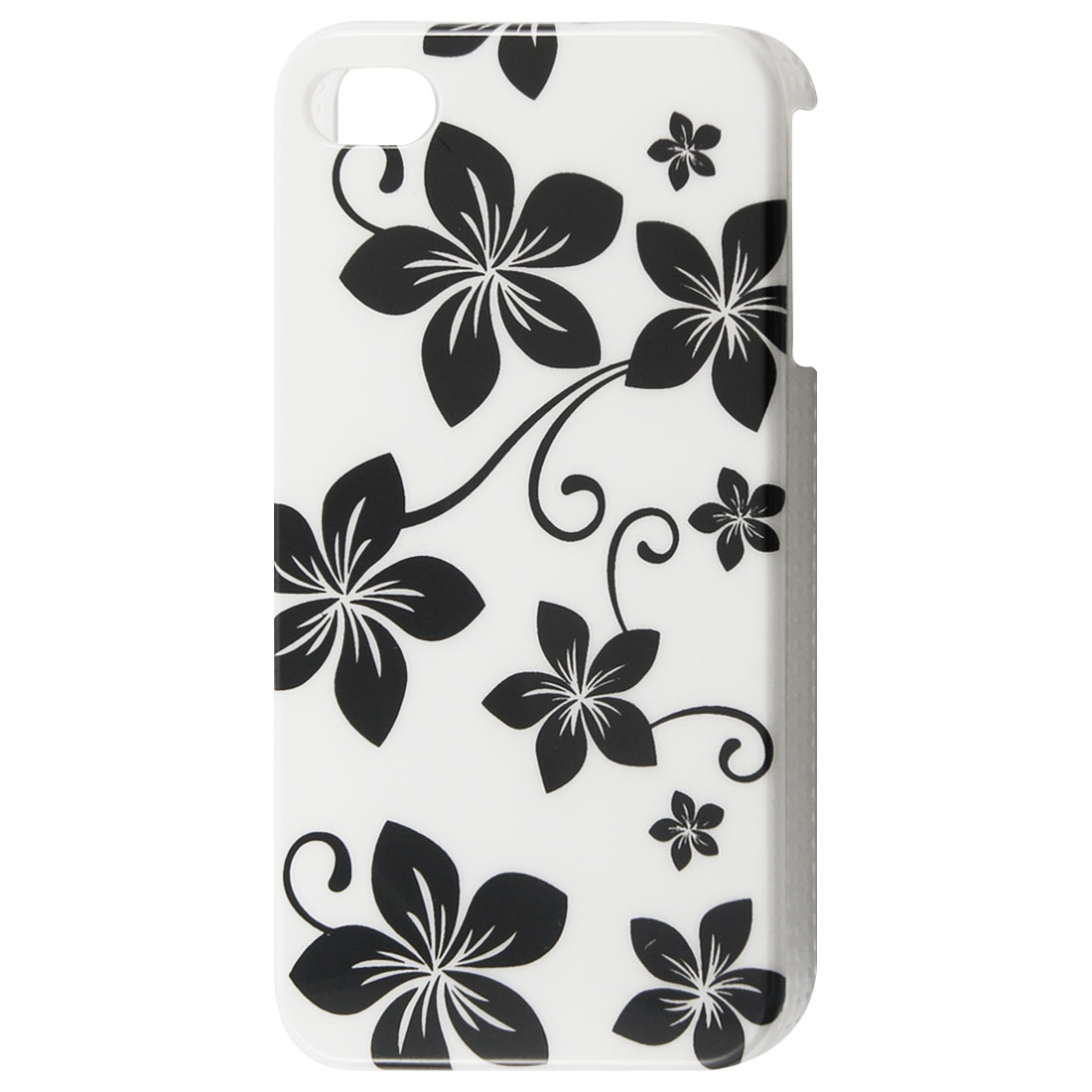 White Background Black Flowers IMD Plastic Back Case for iPhone 4 4S 4GS