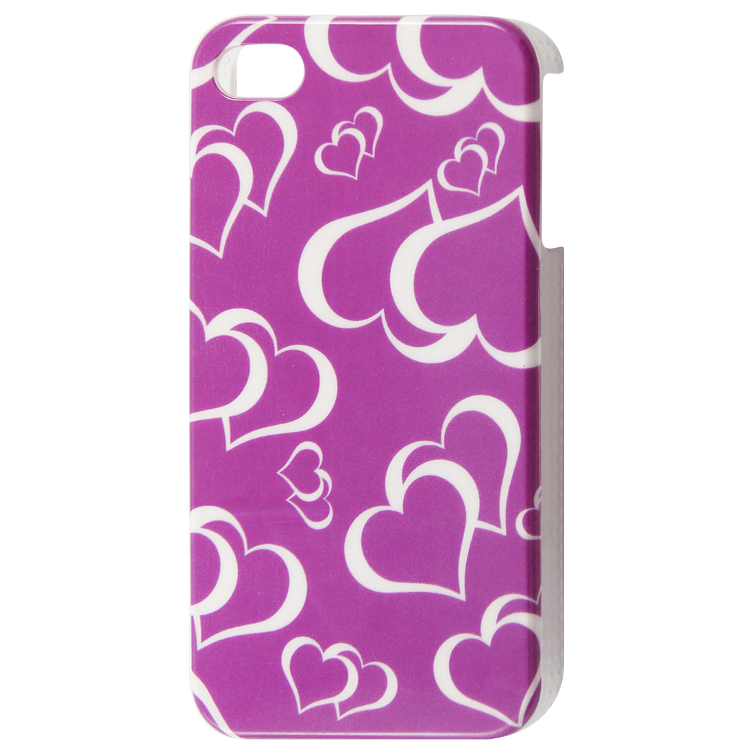 IMD Plastic White Hearts Print Purple Back Case for iPhone 4 4S 4GS