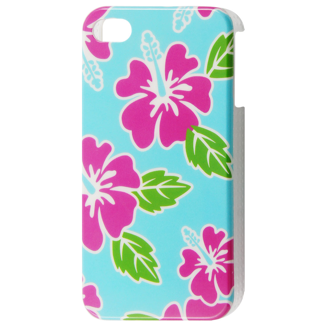 Fuchsia Floral Print Blue Plastic IMD Back Case for iPhone 4 4S 4GS