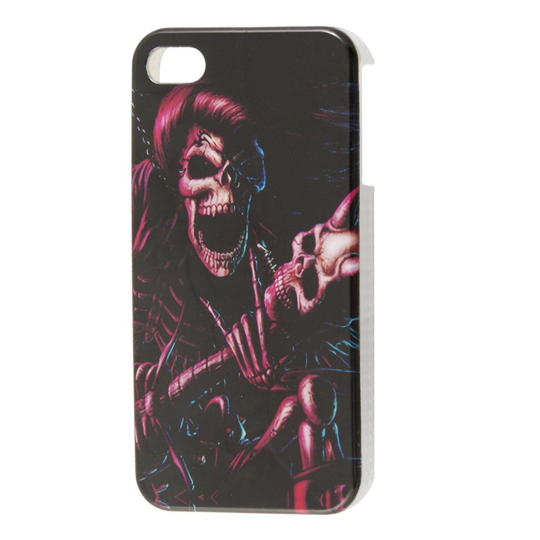 Burgundy Skull Pattern IMD Plastic Black Back Case for iPhone 4 4S 4GS