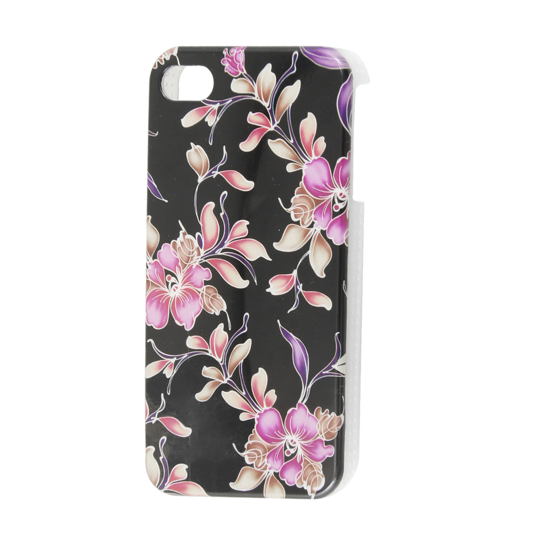 Fuchsia Flowers Pattern Black IMD Plastic Back Guard for iPhone 4S 4GS