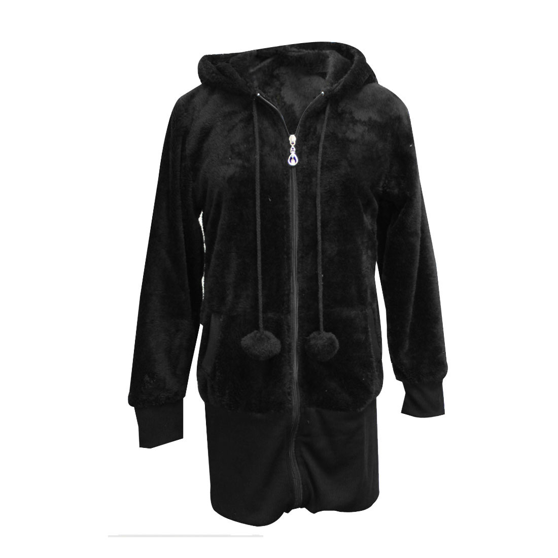 Ladies Pom-Pom Zip Up Paneled Tunic Plush Hooded Coat Black XS
