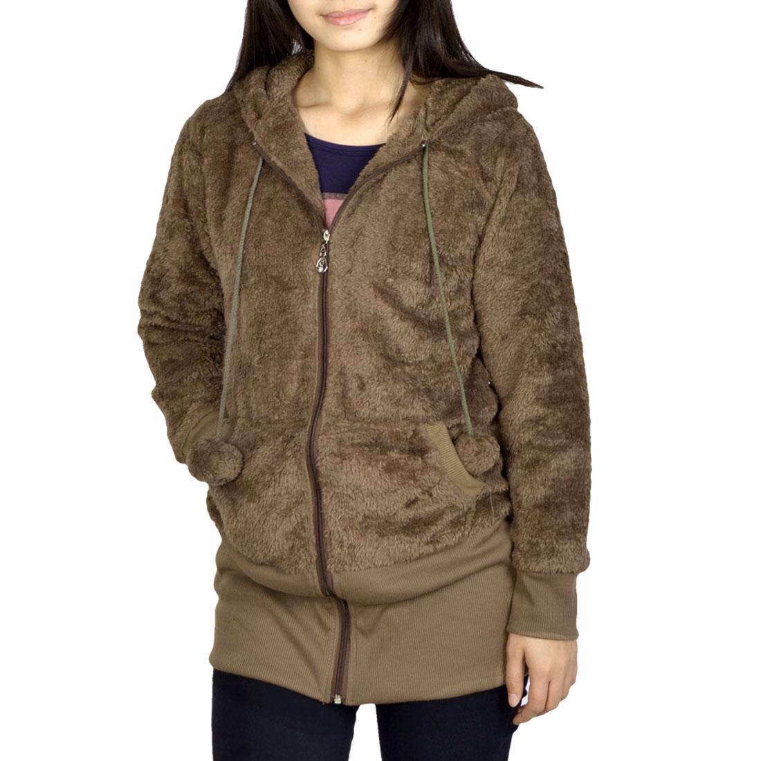 Ladies Two String Bobble Hood Decor Front Pockets Brown Plush Coat XS