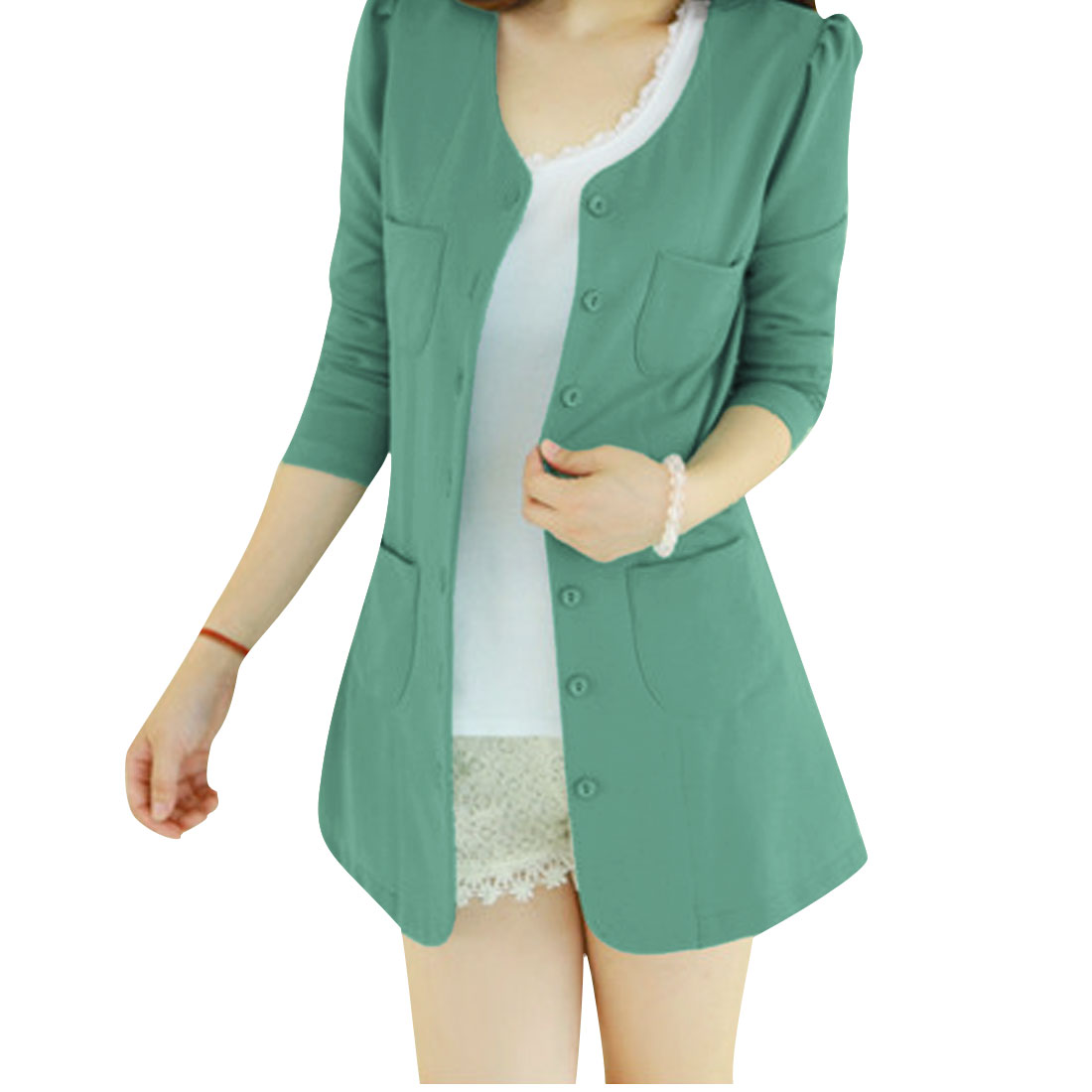 Women Round Neck 3/4 Puff Sleeves Button Closed Blazer Green S