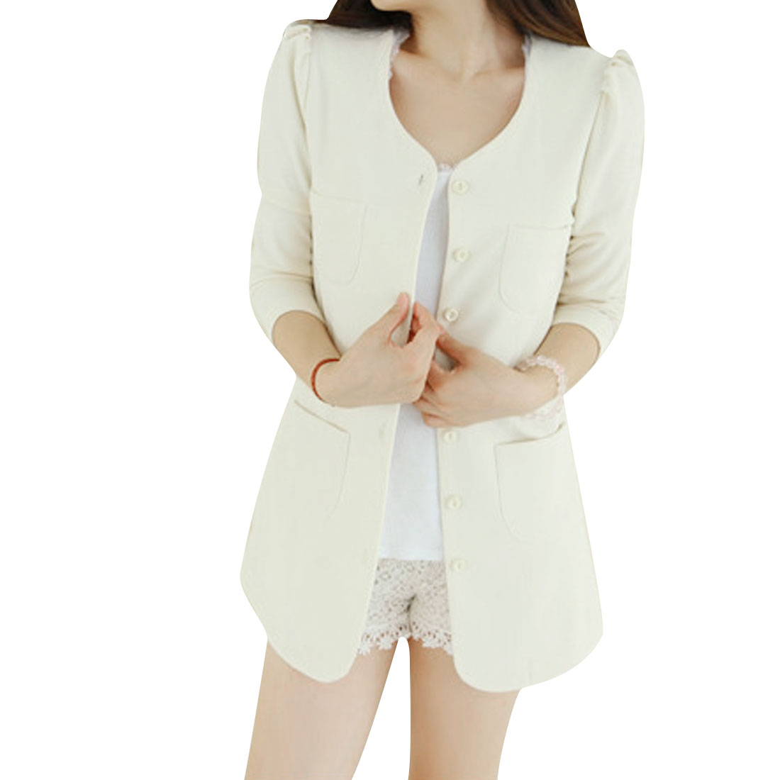 Women 3/4 Puff Sleeves Button Closed Long Blazer White XS
